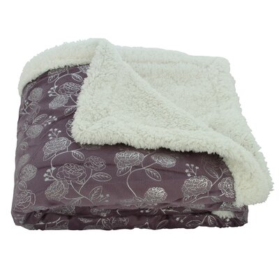 Noble House Garden Sherpa Throw Blanket Color: Purple