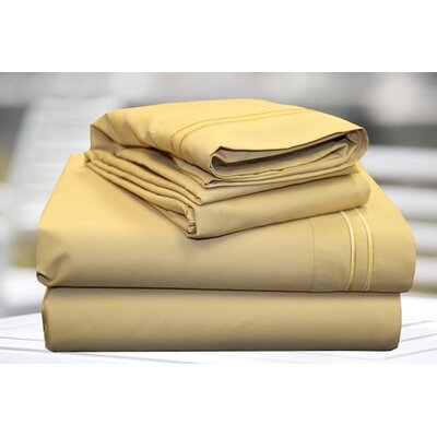 4 Piece Sheet Set Color: Gold, Size: King
