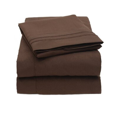 4 Piece Sheet Set Size: King, Color: Chocolate