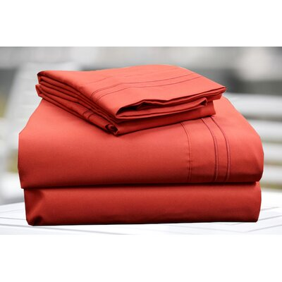 4 Piece Sheet Set Size: King, Color: Red