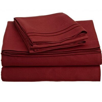4 Piece Sheet Set Size: King, Color: Burgundy