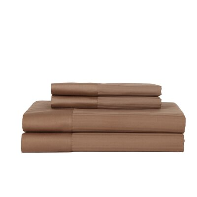 Castle Hill 500 Thread Count Egyptian Quality Cotton Pinstripe Sheet Set Color: Cocoa, Size: Queen