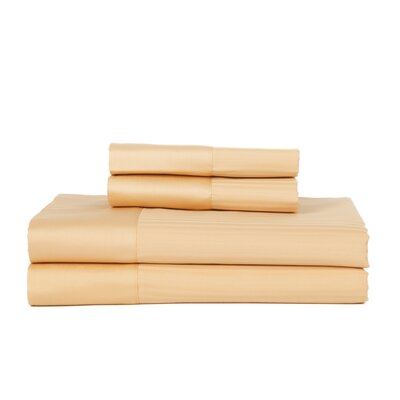 Castle Hill 500 Thread Count Egyptian Quality Cotton Pinstripe Sheet Set Size: King, Color: Gold