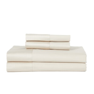 Castle Hill 500 Thread Count Egyptian Quality Cotton Pinstripe Sheet Set Color: Ivory, Size: Queen