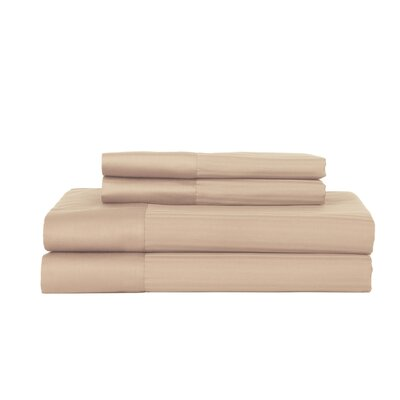 Castle Hill 500 Thread Count Egyptian Quality Cotton Pinstripe Sheet Set Size: Queen, Color: Sandstone