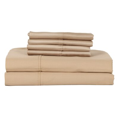 Perthshire Platinum 6 Piece 410 Thread Count Egyptian Quality Cotton Sheet Set Size: Queen, Color: Taupe