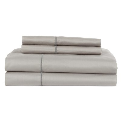 Hotel by Perthshire 4 Piece 620 Thread Count Egyptian Quality Cotton Sateen Sheet Set Size: King, Color: Silver