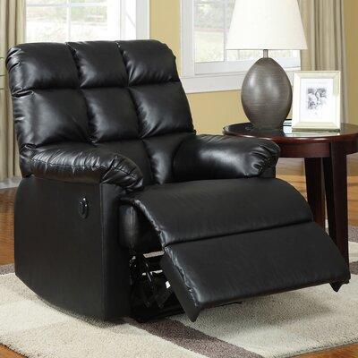 Comfort Haven Power Recliner Upholstery: Black