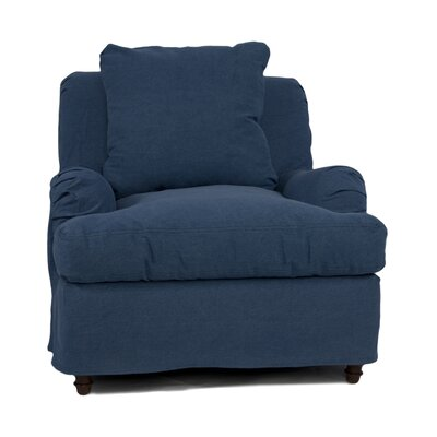 Seacoast Slipcovered Armchair and Ottoman Color: Indigo Blue