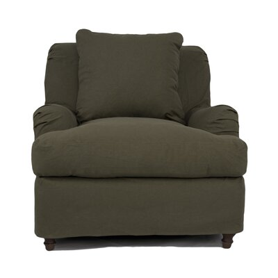 Seacoast Slipcovered Armchair and Ottoman Color: Forest Green