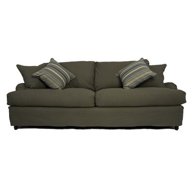 Seacoast Sofa T-Cushion Slipcover Set Upholstery: Forest Green