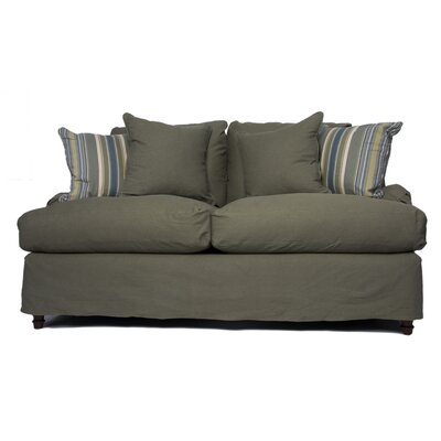 Seacoast Slipcovered Loveseat Upholstery: Forest Green