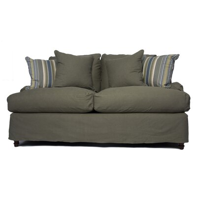 Seacoast Loveseat T-Cushion Slipcover Set Upholstery: Forest Green