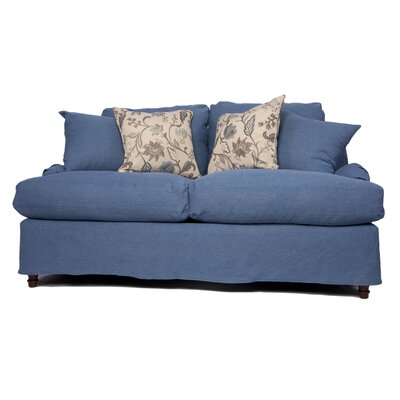 Seacoast Loveseat T-Cushion Slipcover Set Upholstery: Indigo Blue