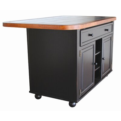 Sunset Trading Sunset Selections Kitchen Island (2 Pieces) - Finish: Antique Black / Cherry