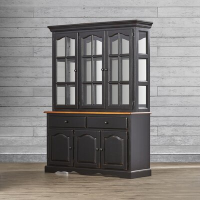 Sunset Selections Dining Lighted China Cabinet Color: Antique Black / Cherry