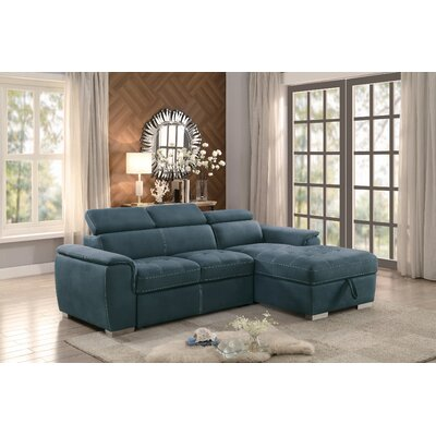 Coury Sectional Chaise Bed Living Room Set Upholstery : Blue