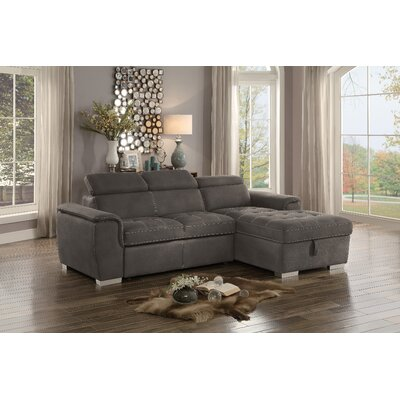 Coury Sectional Chaise Bed Living Room Set Upholstery : Taupe Gray