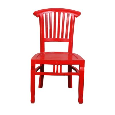 Shirly Cottage Slat Back Solid Wood Dining Chair Color: Red
