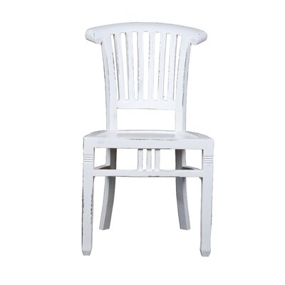 Shirly Cottage Slat Back Solid Wood Dining Chair Color: White