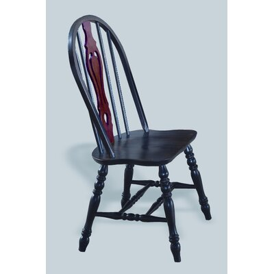 Sunset Selections Keyhole Back Side Chair Finish: Antique Black / Cherry