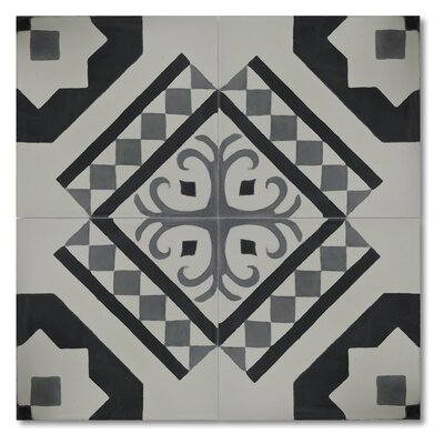 Bouman 8 x 8 Handmade Cement Tile in Black and Gray
