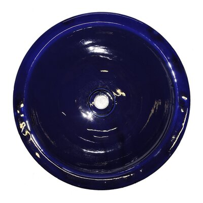 Gortoba Hand Painted Ceramic Circular Vessel Bathroom Sink