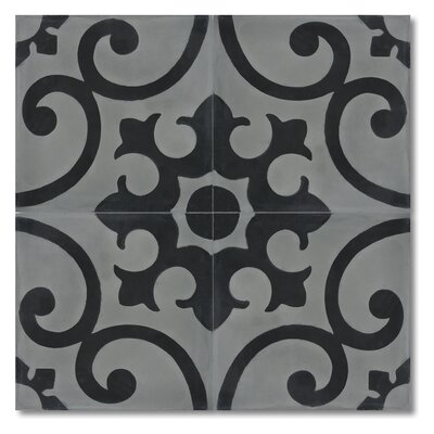 Orika 8 x 8 Handmade Cement Tile in Black and Gray