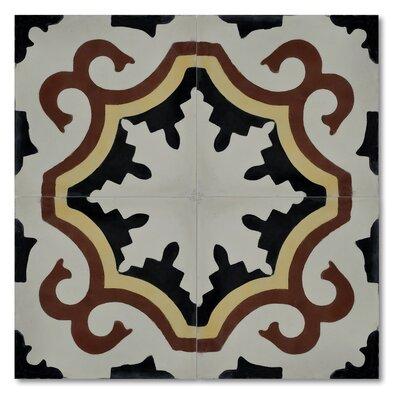 Tanger 8 x 8 Handmade Cement Tile in Matte Beige/Black
