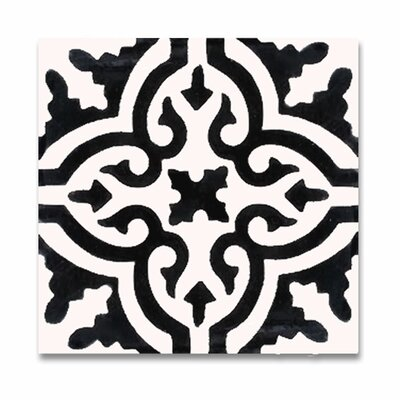 Argana 8 x 8 Handmade Cement Tile in White/Black