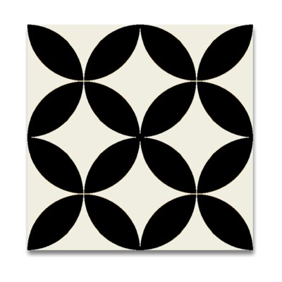 Amlo 8 x 8 Handmade Cement Tile in White and Black