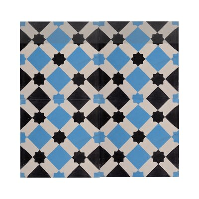 Ait Baha 8 x 8 Handmade Cement Tile  in Black/Blue