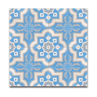 Taza  8 x 8 Handmade Cement Tile in Blue/White
