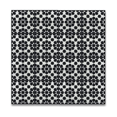 Ahfir 8 x 8 Handmade Cement Tile in Black/White
