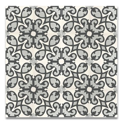 Agadir 8 x 8 Agadir  Handmade Cement Tile  in Gray/Black