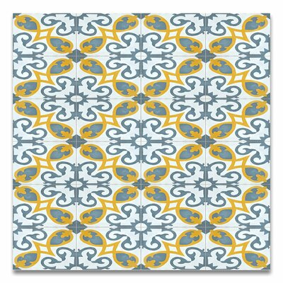 Agadir 8 x 8 Handmade Cement Tile in Gray/Yellow