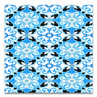 Agadir 8 X 8 Handmade Cement Tile in Blue/White