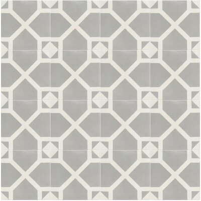 Amoud 8 x 8 Handmade Cement Tile in Gray/White