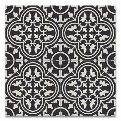 Casa 8 x 8 Handmade Cement Tile in Black and White
