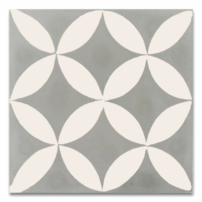 Amlo 8 x 8 Handmade Cement Tile in White and Gray