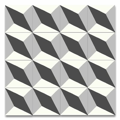 Diamond 8 x 8 Handmade Cement Tile in Black and Gray