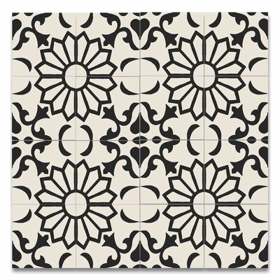 Taj 8 x 8 Handmade Cement Tile in Black and White
