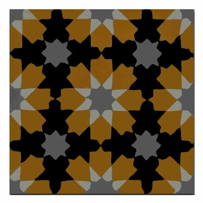 Ahfir 8 x 8 Handmade Cement Tile in Orange/Black