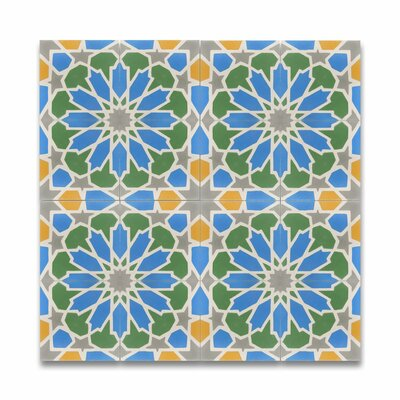 Bahja 8 x 8 Handmade  Cement Tile in Multicolor