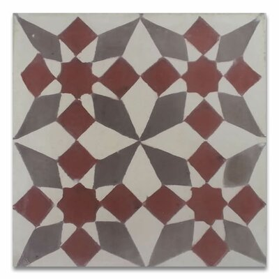 Joana 8 x 8  Handmade Cement Tile in Red/Gray