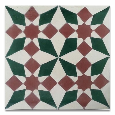 Joana 8 x 8 Handmade Cement Tile in Red/Green