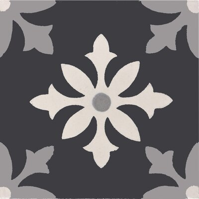Azrou 8 x 8 Handmade Cement  Tile in Gray/Black