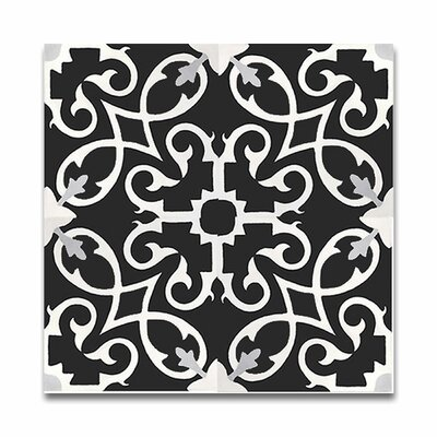 Agadir 8 X 8 Handmade Cement Tile in Black/White