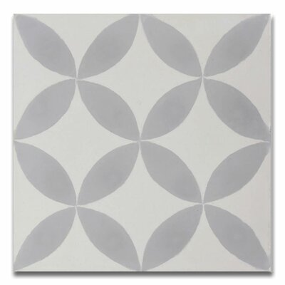 Amlo 8 x 8 Handmade Cement Tile in White/Gray