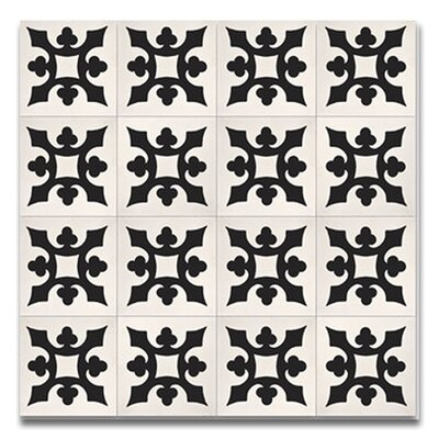 Tishka 8 x 8 Handmade Cement Tile  in Black/White